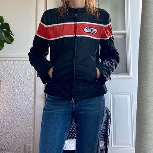 Harley Davidson classic racing black orange jacket